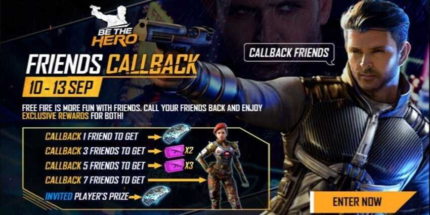 Free Fire Call Back Event
