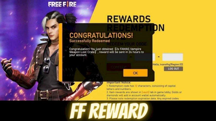 Collect the Free Fire rewards after successful redemption