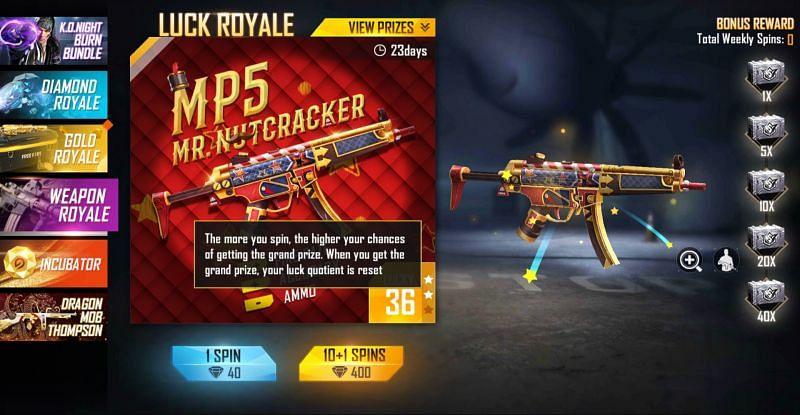 Mr Nutcracker MP5 Skin in Free Fire