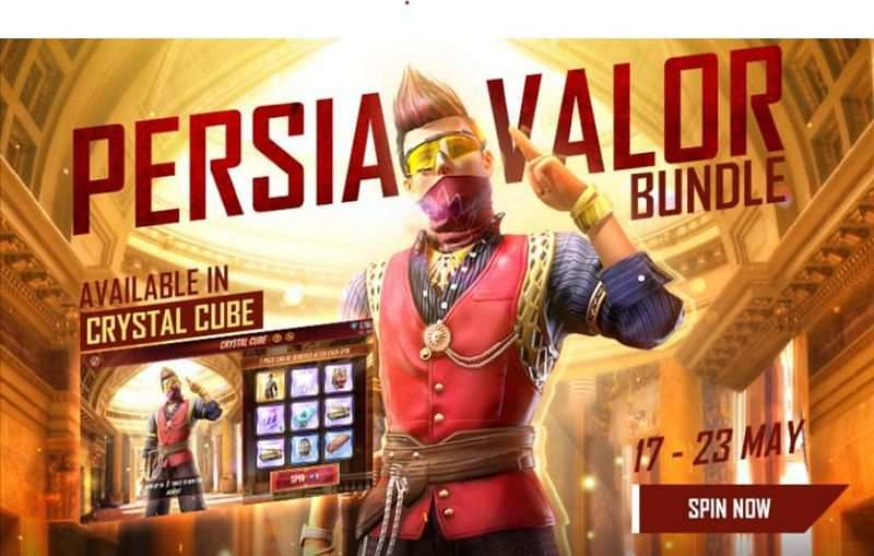Free Fire Persia Valor Bundle in Crystal Cube Event