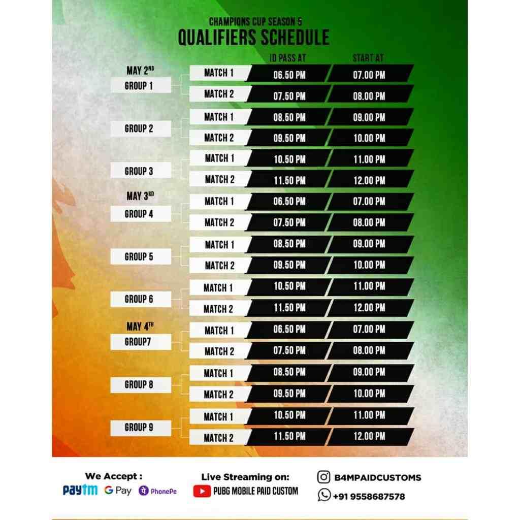 Qualifiers Schedule