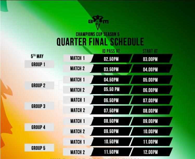 Quarter Finals Schedule
