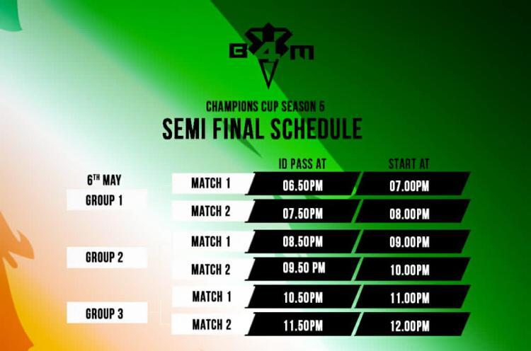 Semi-Finals Schedule