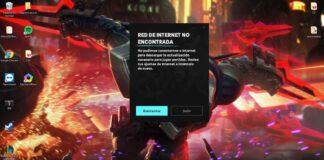 League of Legends red de internet no encontrada.