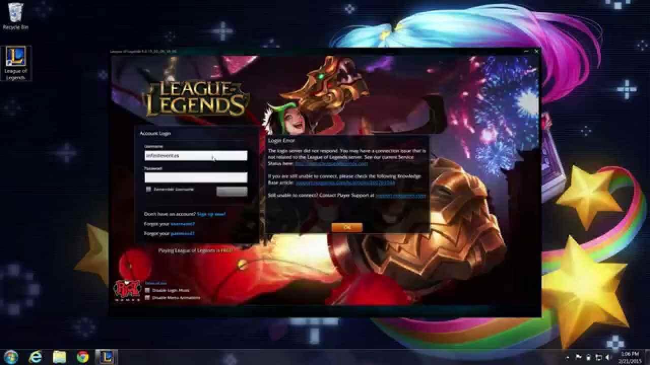 League of Legends Internet Network Not Found