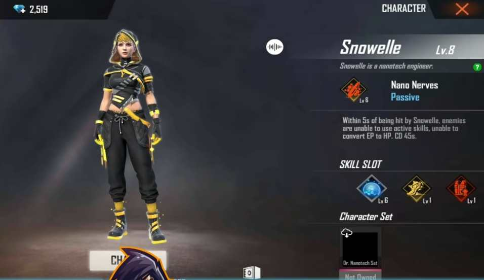 Snowelle Character in Free Fire OB28 Update