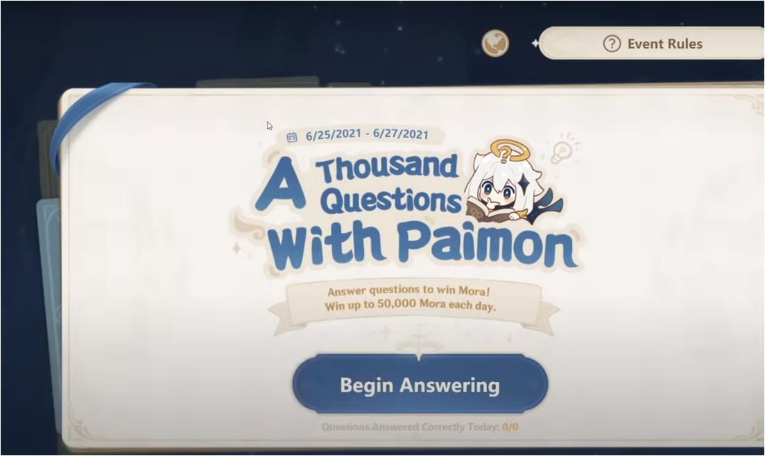a thousand questions with paimon quiz Genshin Impact
