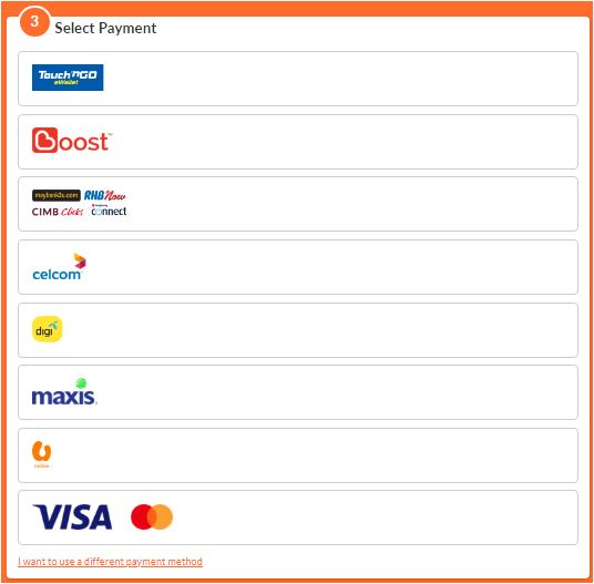 Top up payment options