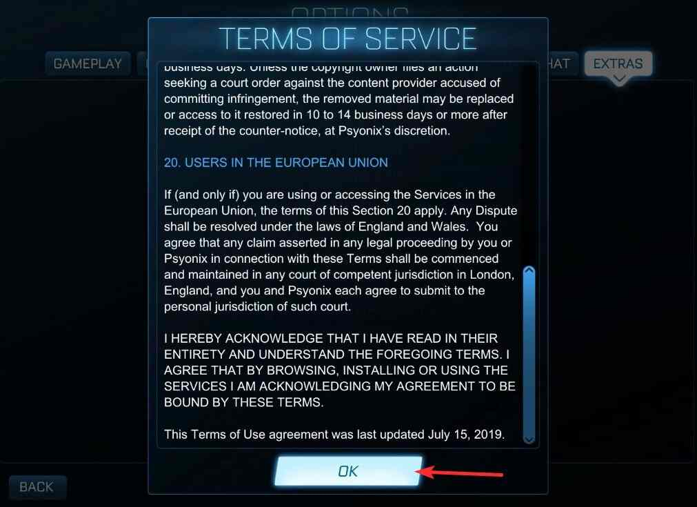 How to Accept License Agreement on Rocket League