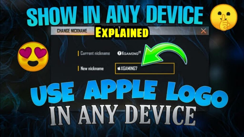 logo iPhone ff i.e Apple Logo in Free Fire Nickname: