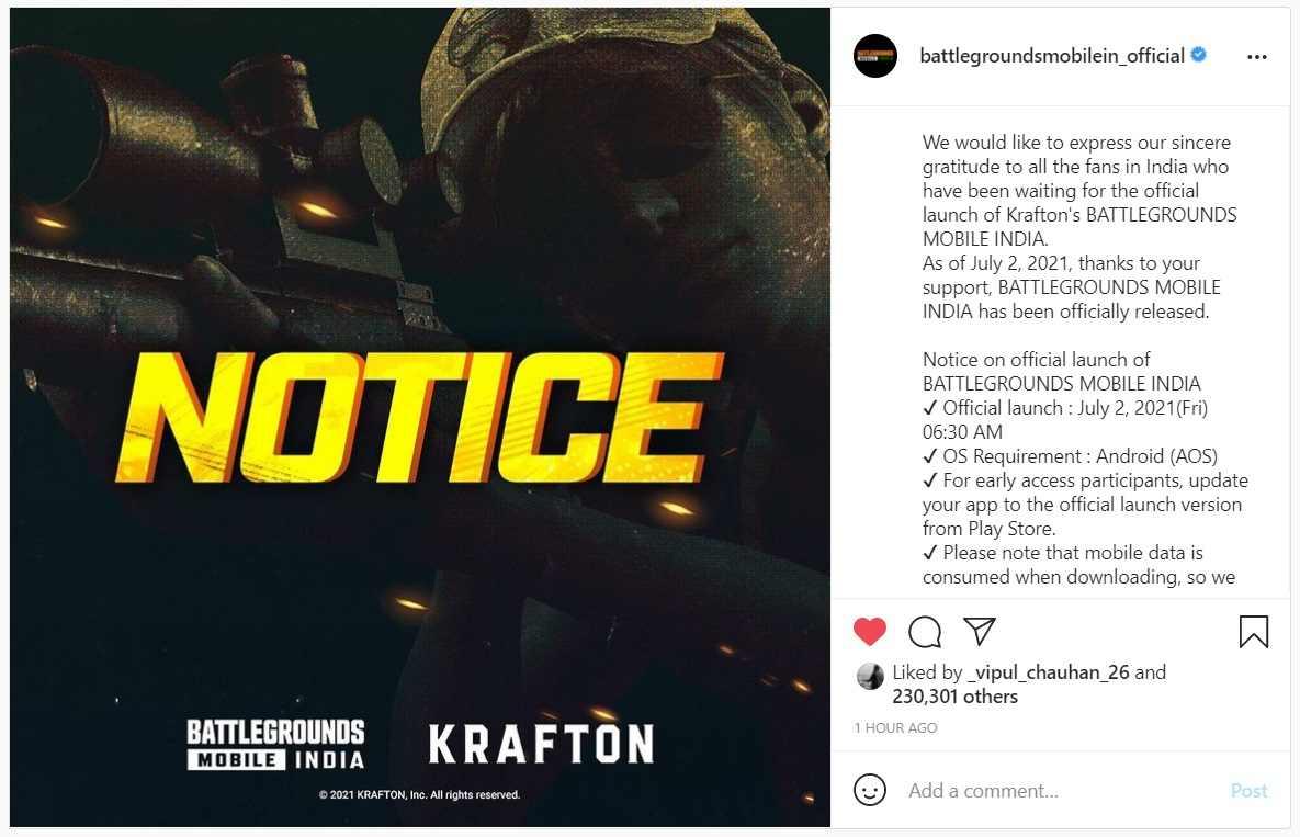 BGMI's Official Instagram Post