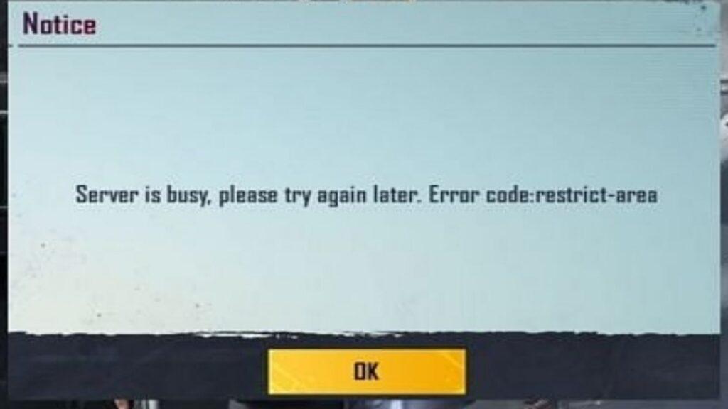 BGMI Server Busy Error