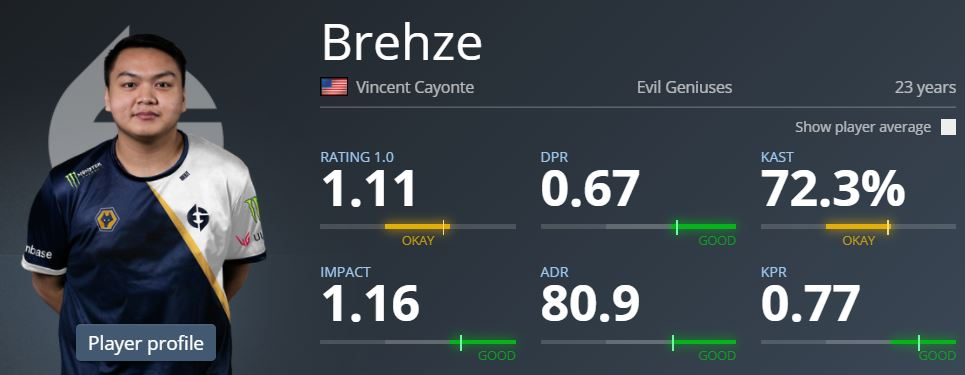 Brehze CSGO Settings: Statistics and Settings