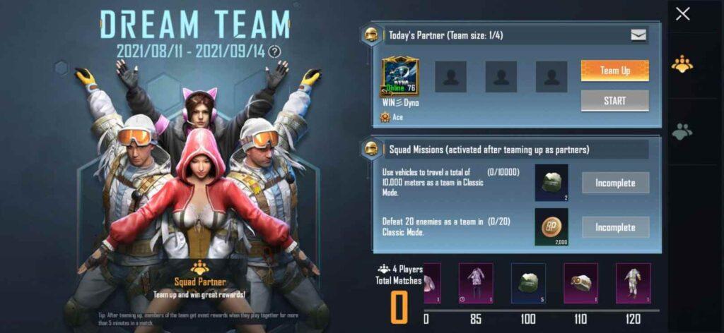 BGMI Dream Team Event: Free Rewards and Details