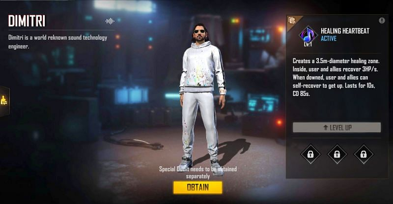 New Dimitri character Free Fire