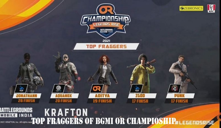 Top Fraggers in BGMI OR Championship