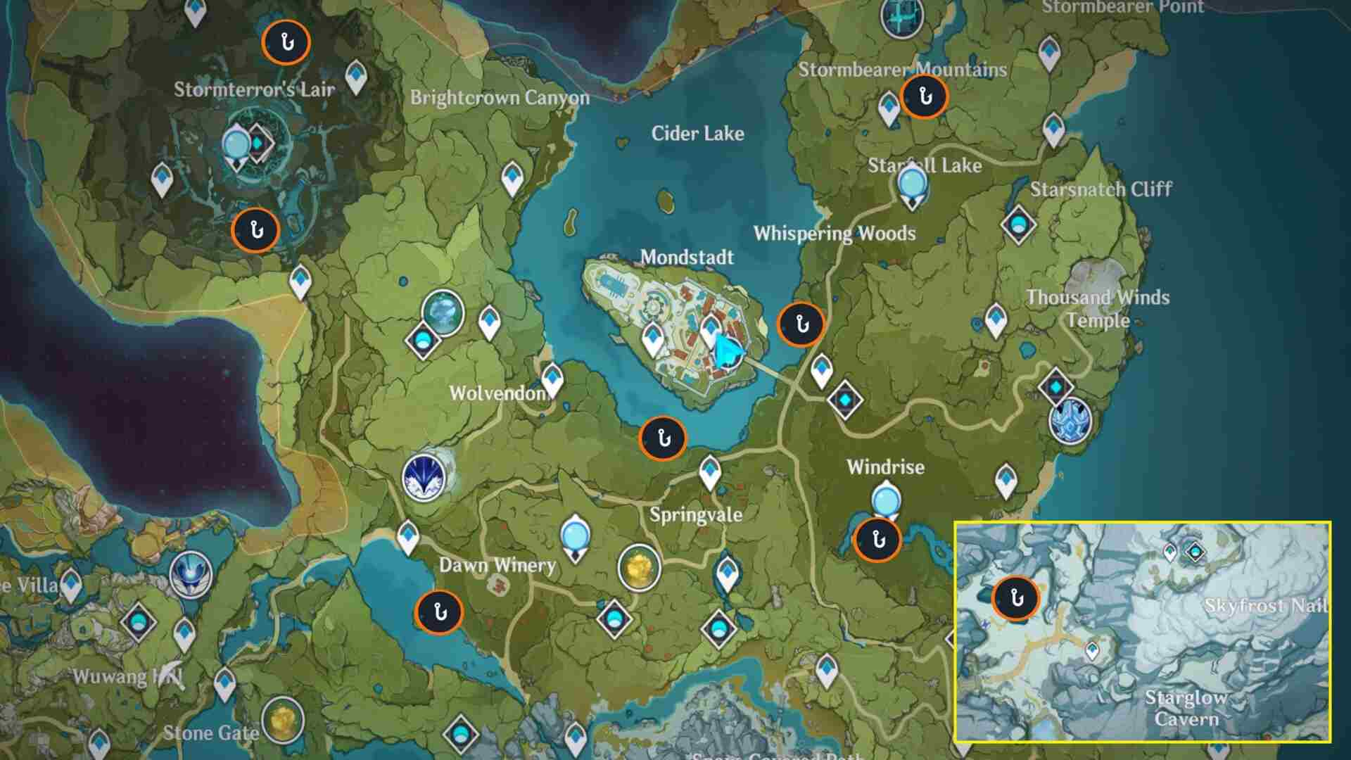 Fishing Spots/Locations in Monstadt