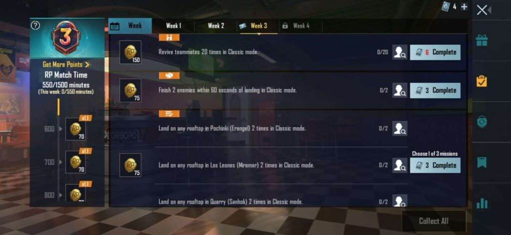 BGMI Royal Pass M3 - All Week 3 RP Missions