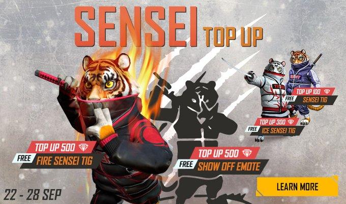 Sensei Top Up Event In Free Fire
