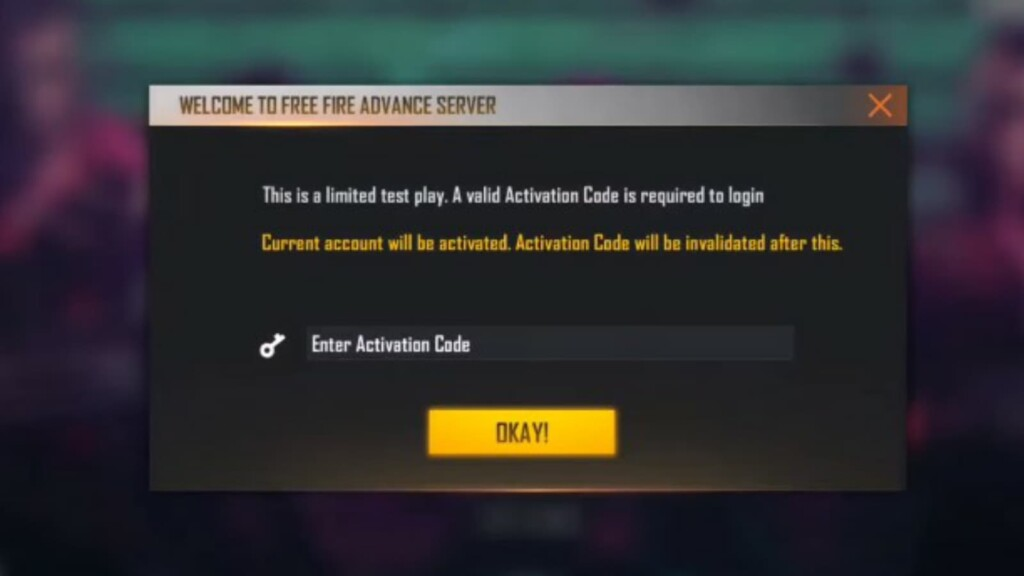 Free Fire code for registration completion