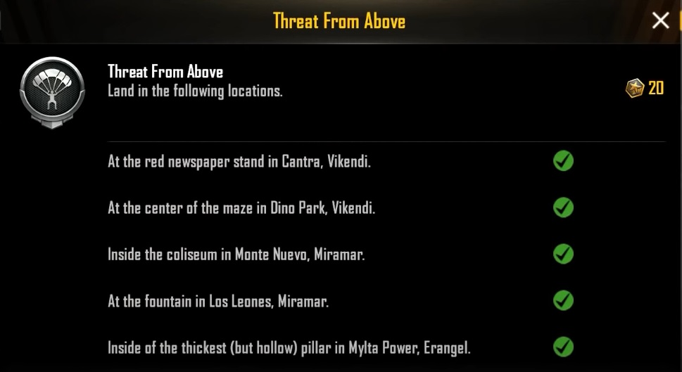 Threat From Above BGMI: Complete The Achievement